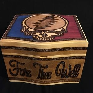 Grateful Dead Hand Made Wood Engraved Painted Box